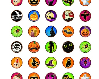 Fun Halloween Stickers 1 INCH Round Sticker Sheets - 40 Stickers per Sheet Order