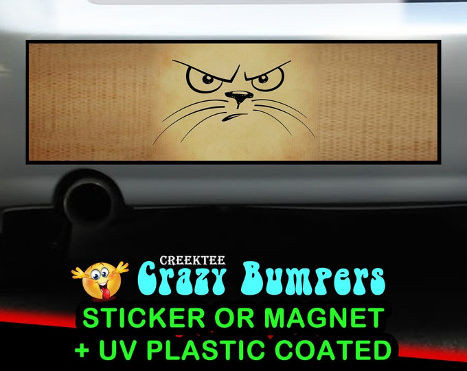 Angry Cat 10 x 3 Bumper Sticker or Magnetic Bumper Sticker Available