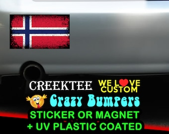 "3 Vinyl Norway Grunge Look Stickers or Magnets coated in 3mil or 4.7mil UV laminate, size is 4 inch X 2 inch (4.1"" x 2.3"")"