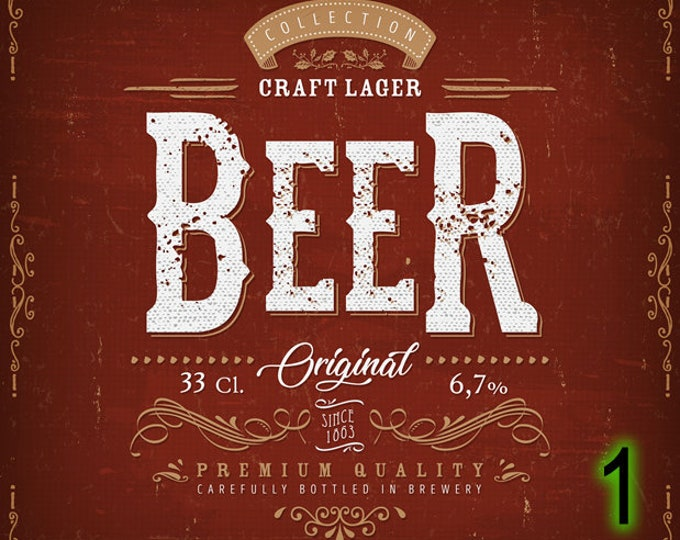 "10X 3 .5"" x 4.125"" Beer Labels, standard labels, vinyl labels, or laminated labels for premium feel and look,  bulk pricing available!"