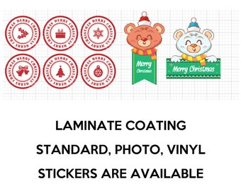 8 fun christmas stickers in standard, photo or vinyl print materials with laminate or magnet options available.  Premium full color.