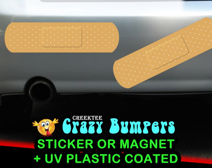 "1X or 2X LARGE 18"" ouch bandage vinyl sticker or magnet 18"" x 4.8"" bumper bandage sticker or bumper magnet hides scratches in a fun way"