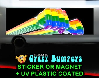 LGBT 10 x 3 Bumper Sticker or Magnetic Bumper Sticker Available