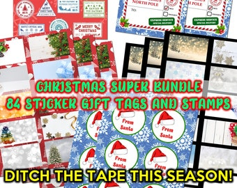 SUPER BUNDLE - 84 Fun Christmas North Pole Mail Stamp Stickers and Gift Tags for Santa Claus gifts and Christmas Cards