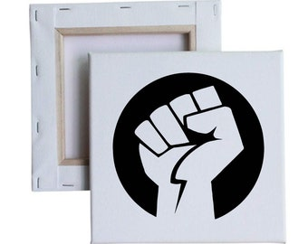 Rising Fist 10x10 Canvas Art with melted vinyl print - Customize with your own design, ask us!