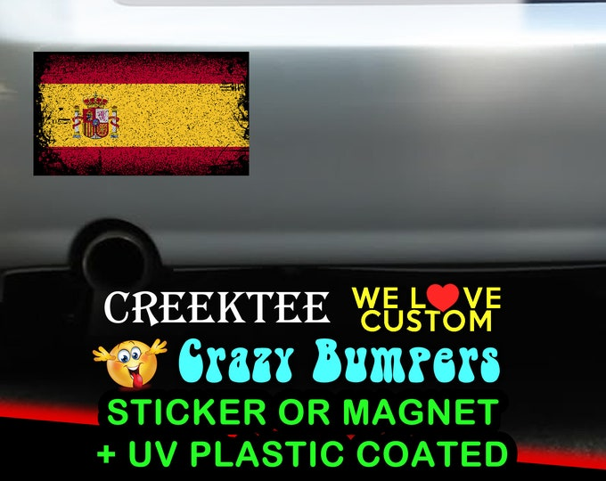"3 Vinyl Spain Grunge Look Stickers or Magnets coated in 3mil or 4.7mil UV laminate, size is 4 inch X 2 inch (4.1"" x 2.3"")"