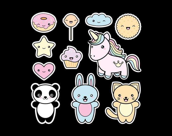 11 Kawaii Style Fun Vinyl Stickers or Magnets sizing see photos