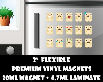 15 1.5 inch guinea pig emoji fridge magnets or stickers standard, photo or vinyl print materials with laminate or magnet options available.