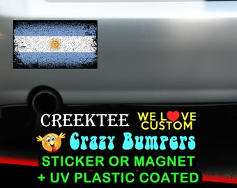 "3 Vinyl Argentina Grunge Look Stickers or Magnets coated in 3mil or 4.7mil UV laminate, size is 4 inch X 2 inch (4.1"" x 2.3"")"