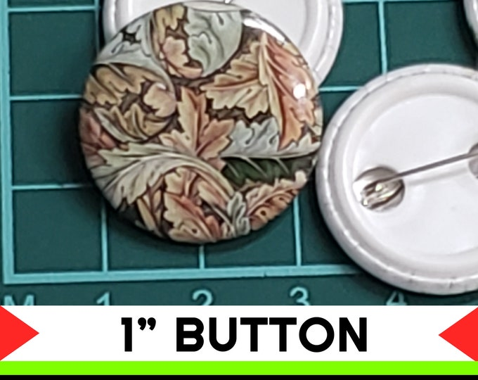 Fun Textile Print 1 inch buttons. Pin back button