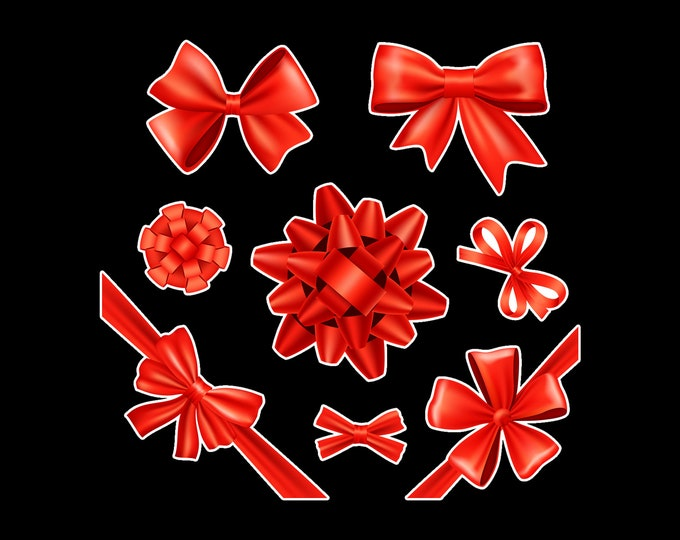 2 sets of 8 = 16 Gift Bow and Ribbons Vinyl Stickers or Magnets  see photo for sizing on grid