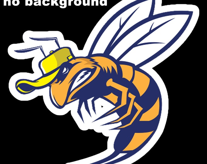 """Bee Hornet Wasp sting attack Vinyl Sticker 5.8"""" High by 6"""" Wide, UV protected laminate coating or magnet options available.  Premium."""