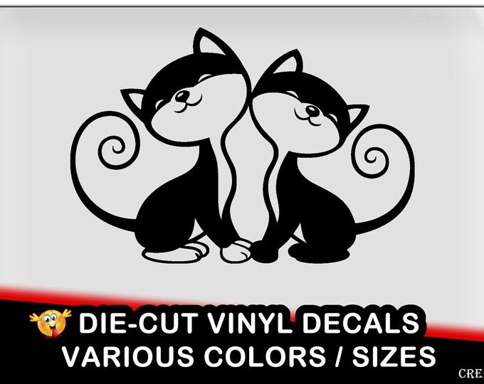 2 Cats vinyl decal - fun vinyl decal in various colors