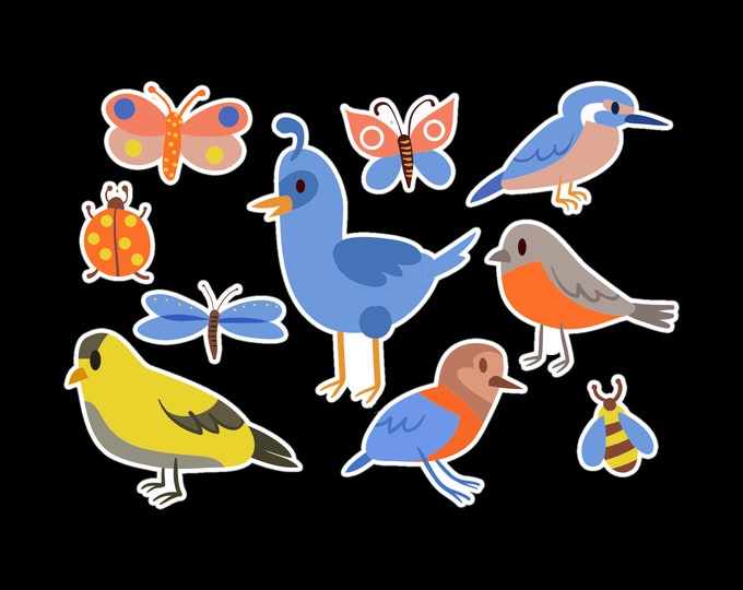 10 Fun Bird and Butterfly Adventure Vinyl Stickers or Magnets sizing see photos