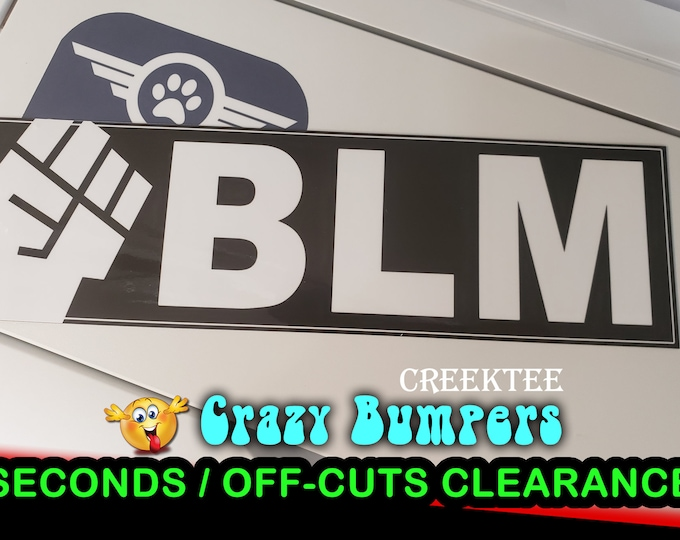 "Off-Cut or Seconds 1 only - BLM with Fist Vinyl Bumper Magnet 10"" x 3"""