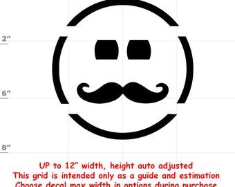 Happy Face Moustache Emoji Vinyl Decal (1906-J) - various sizes and colors - colours