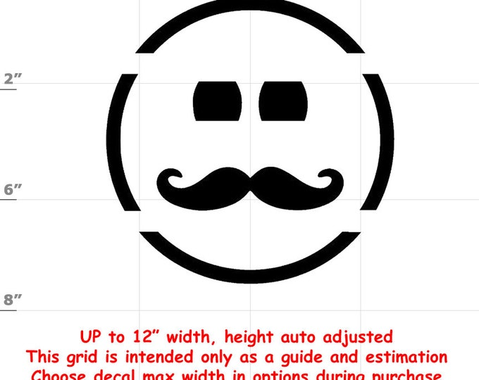 Happy Face Moustache Emoji Vinyl Decal (1906-J) - various sizes and colors - colours