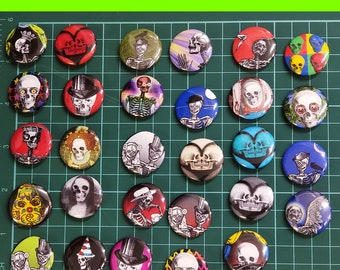 29 PINS Skull Candy Collection Fun 1 inch buttons. Skull Skeleton Pin back button