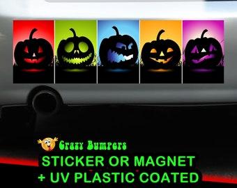 Rainbow Pumpkins Halloween Bumper Sticker 10 x 3 Bumper Sticker or Magnetic Bumper Sticker Available