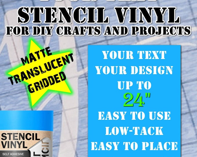 """Personalized Stencils In Stencil Vinyl Material custom text or image stencil for Airbrush, painting  stencil vinyl up to 24"""" - single use."""