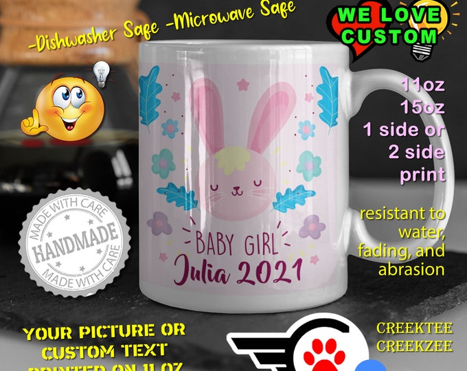 Gender Reveal Baby Girl Personalized Name Mug, Custom Funny Mug Custom Name 11oz Coffee Mug, choose your color or font