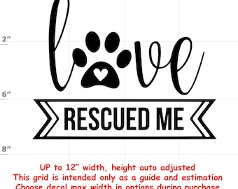 love recued me Dog vinyl decal - Dog Decal