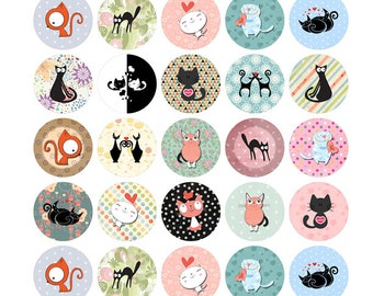 Fun Oragami Cat Stickers 1 INCH Round Sticker Sheets - 35 Stickers per Sheet Order