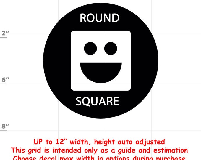 Square Peg Round Hole Emoji Vinyl Decal (1906-H) - various sizes and colors - colours