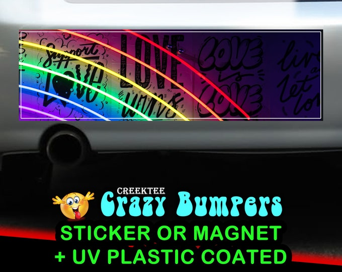 Neon Rainbow Love 10 x 3 Bumper Sticker or Magnet - Custom changes and orders welcomed!