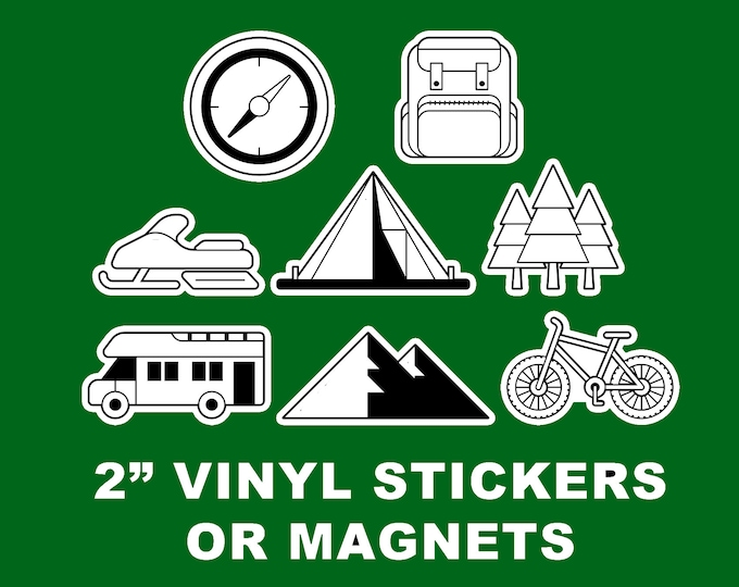 2 sets of 8 = 16 Fun Outdoor Adventure Vinyl Stickers or Magnets  2 inch sizing