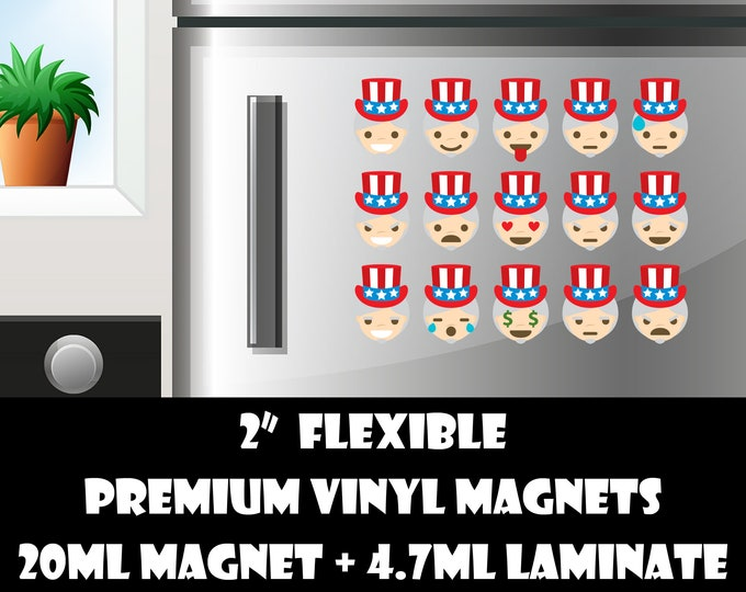 15 2inch uncle sam emoji fridge magnets or stickers standard, photo or vinyl print materials with laminate or magnet options available.
