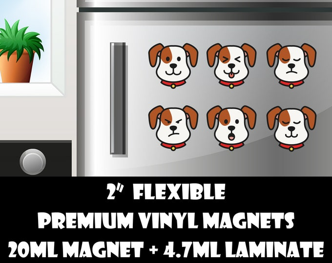 6 2inch dog emoji fridge magnets or stickers standard, photo or vinyl print materials with laminate or magnet options available.