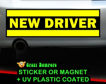 NEW DRIVER YELLOW 10 x 3 Bumper Sticker or Magnetic Bumper Sticker Available