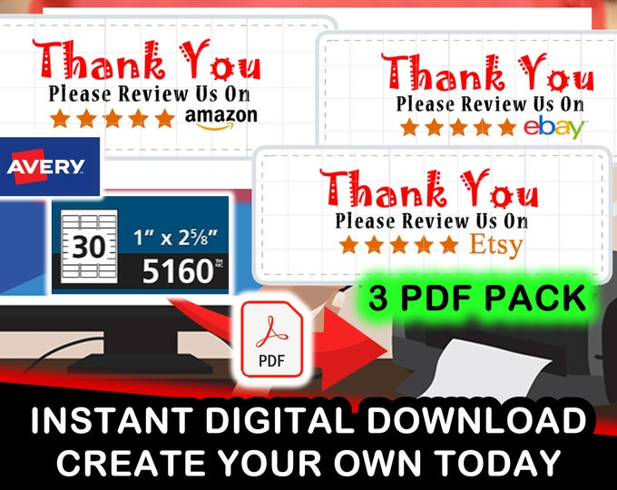 "Print Your Own! Formatted For Avery 5160 - 3 Pack PDF of ""Thank You Please Review Us On Ebay, Etsy and Amazon"" Digital PDF"
