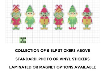 6 fun ELF stickers in standard, photo or vinyl print materials with laminate or magnet options available.  Premium full color.