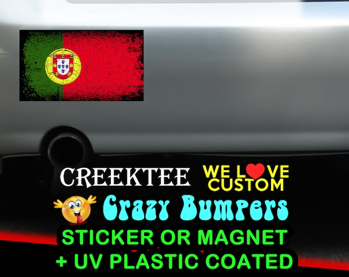 "3 Vinyl Portugal Grunge Look Stickers or Magnets coated in 3mil or 4.7mil UV laminate, size is 4 inch X 2 inch (4.1"" x 2.3"")"