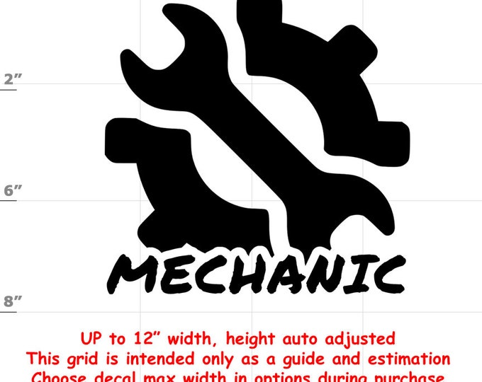 Mechanic Vinyl Decal (1906-D) - various sizes and colors - colours