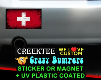 "3 Vinyl Switzerland Grunge Look Stickers or Magnets coated in 3mil or 4.7mil UV laminate, size is 4 inch X 2 inch (4.1"" x 2.3"")"