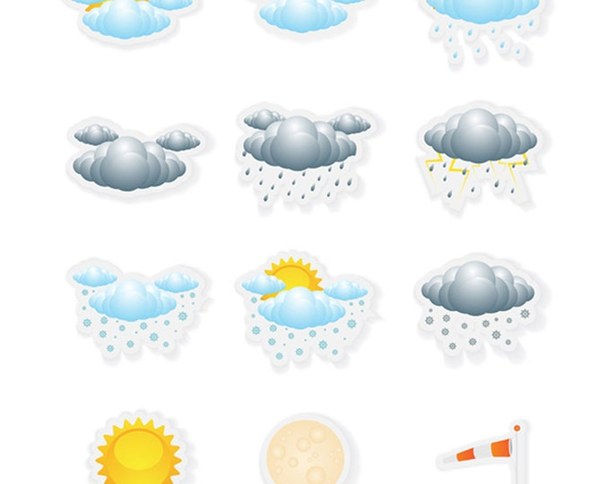 12 Fun weather Stickers - 1 inch wide by up to 1.5  inch high - great for lunch boxes or anything!