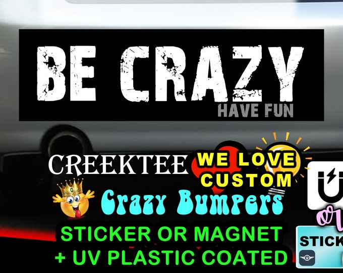 "Be Crazy Have Fun Bumper Sticker or Magnet with your text or image 8""x2.4"", 9""x2.7"" or 10""x3"""