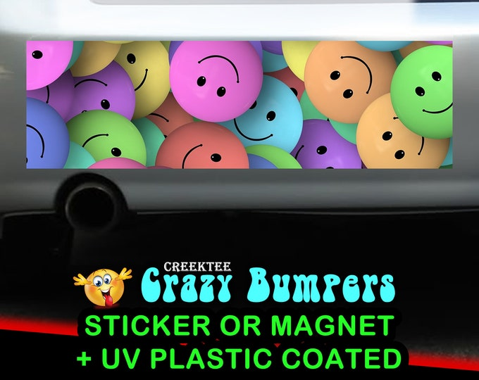 Happy Faces 10 x 3 Bumper Sticker or Magnetic Bumper Sticker Available