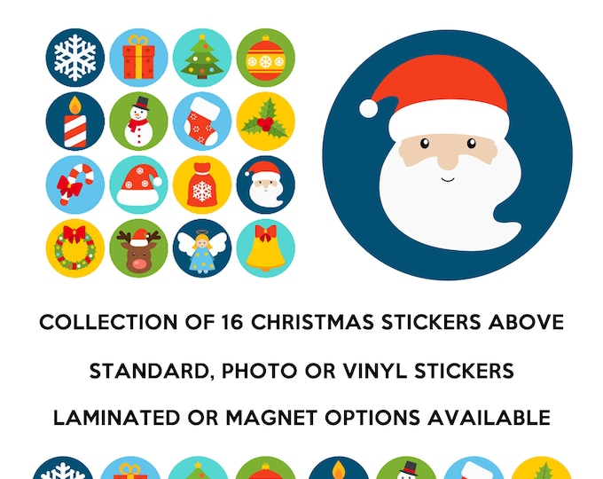 16 fun christmas stickers in standard, photo or vinyl print materials with laminate or magnet options available.  Premium full color.
