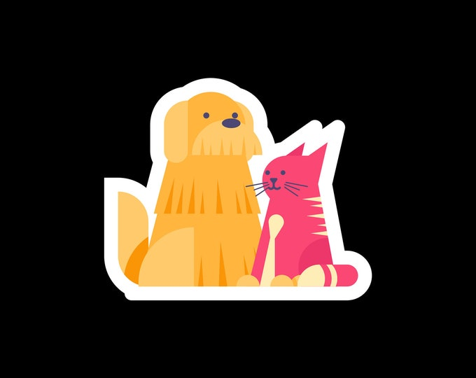"""Cute Heart Dog Holding Cat Vinyl sticker or magnet in various sizes and width's from 2"""" to 6"""" with uv laminate protection"""