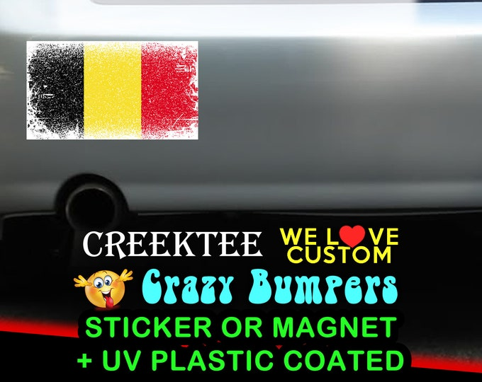 "3 Vinyl Belgium Grunge Look Stickers or Magnets coated in 3mil or 4.7mil UV laminate, size is 4 inch X 2 inch (4.1"" x 2.3"")"