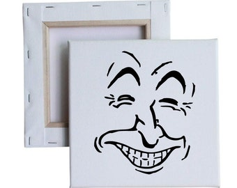Smiling Face Outline 10x10 Canvas Art with melted vinyl print - Customize with your own design, ask us!