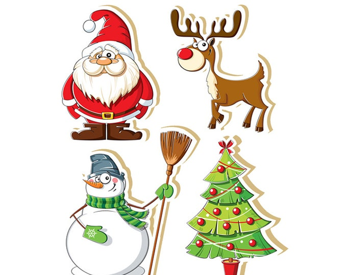 4+ glossy or vinyl assorted quantity LARGE Fun Christmas Stickers 3 inch holiday stickers santa claus, snowman, x-mas tree, reindeer