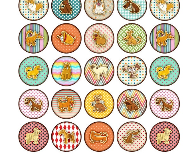 35 1 inch round magnets Dog ORAGAMI Collection Fun 1 inch fridge or message board magnets