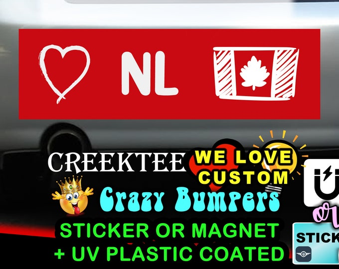 "Love Newfoundland Canada Bumper Sticker or Magnet in new sizes, 4""x1.5"", 5""x2"", 6""x2.5"", 8""x2.4"", 9""x2.7"" or 10""x3"" sizes"