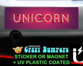 Unicorn bumper sticker or magnet, 9 x 2.7 or 10 x 3 Sticker Magnet or bumper sticker or bumper magnet