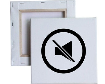 Mute No Sound Icon 10x10 Canvas Art with melted vinyl print - Customize with your own design, ask us!